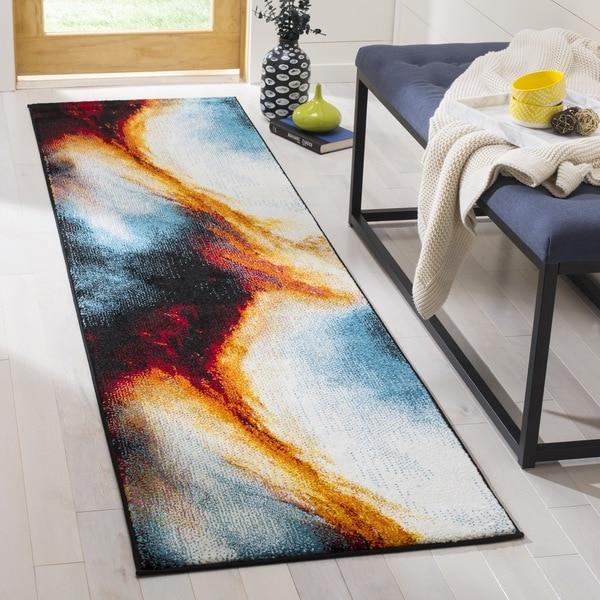 Safavieh Galaxy Contemporary Abstract Orange/ Multi Runner Rug (2'2 x 8')