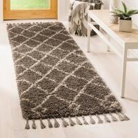 Safavieh Moroccan Fringe Shag Geometric Grey/ Cream Runner Rug - 2'3 x 7'