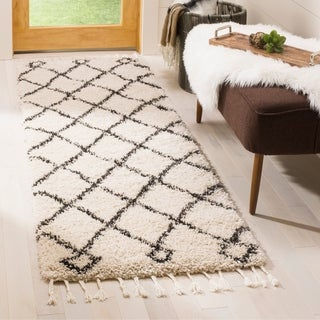 Safavieh Moroccan Fringe Shag Geometric Cream/ Charcoal Runner Rug (2'3 x 9')