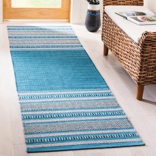 Safavieh Montauk HandWoven Cotton Transitional Geometric Blue/ Grey Runner Rug (2'3 x 8')
