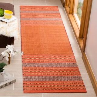 Safavieh Montauk HandWoven Cotton Transitional Geometric Orange/ Red Runner Rug (2'3 x 8')