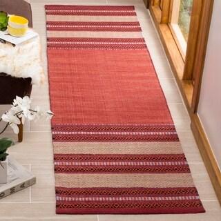 Safavieh Montauk HandWoven Cotton Transitional Geometric Red/ Ivory Runner Rug (2'3 x 8')