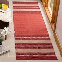 Safavieh Montauk HandWoven Cotton Transitional Geometric Red/ Ivory Runner Rug - 2'3 x 8'