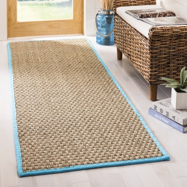 Safavieh Natural Fiber HandWoven Seagrass Contemporary Natural/ Navy Runner Rug (2'6 x 8')