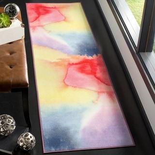 Safavieh Paint Brush Contemporary Abstract Fuchsia/ Yellow Runner Rug (2'3 x 8')