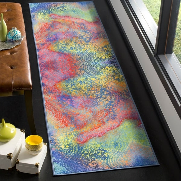 Safavieh Paint Brush Contemporary Abstract Blue/ Coral Runner Rug - 2'3 x 8'
