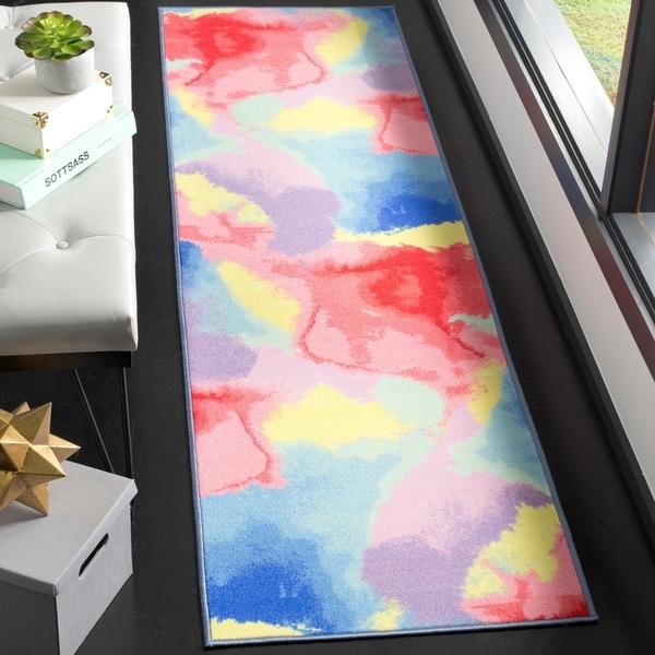 """Safavieh Paint Brush Contemporary Abstract Fuchsia/ Yellow Runner Rug - 2'3"""" x 8' Runner"""