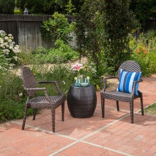 Taft Outdoor 3-Piece Wicker Chat Set by Christopher Knight Home