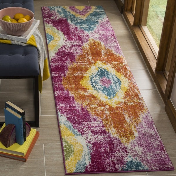 Safavieh Watercolor Transitional Geometric Fuchsia/ Orange Runner Rug - 2'2 x 8'