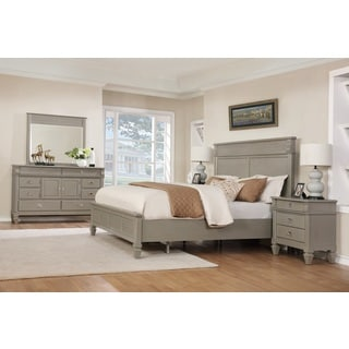 York 204 Solid Wood Construction Bedroom Set With King Size Bed, Dresser,  Mirror And