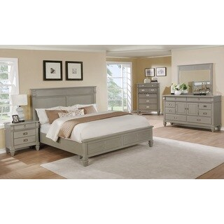 York 204 Solid Wood Construction Bedroom Set with King Size Bed, Dresser, Mirror and Night Stand