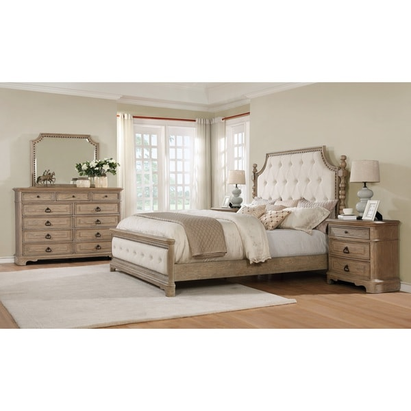Piraeus 296 Solid Wood Construction Bedroom Set With Queen Size Bed, Dresser,  Mirror And