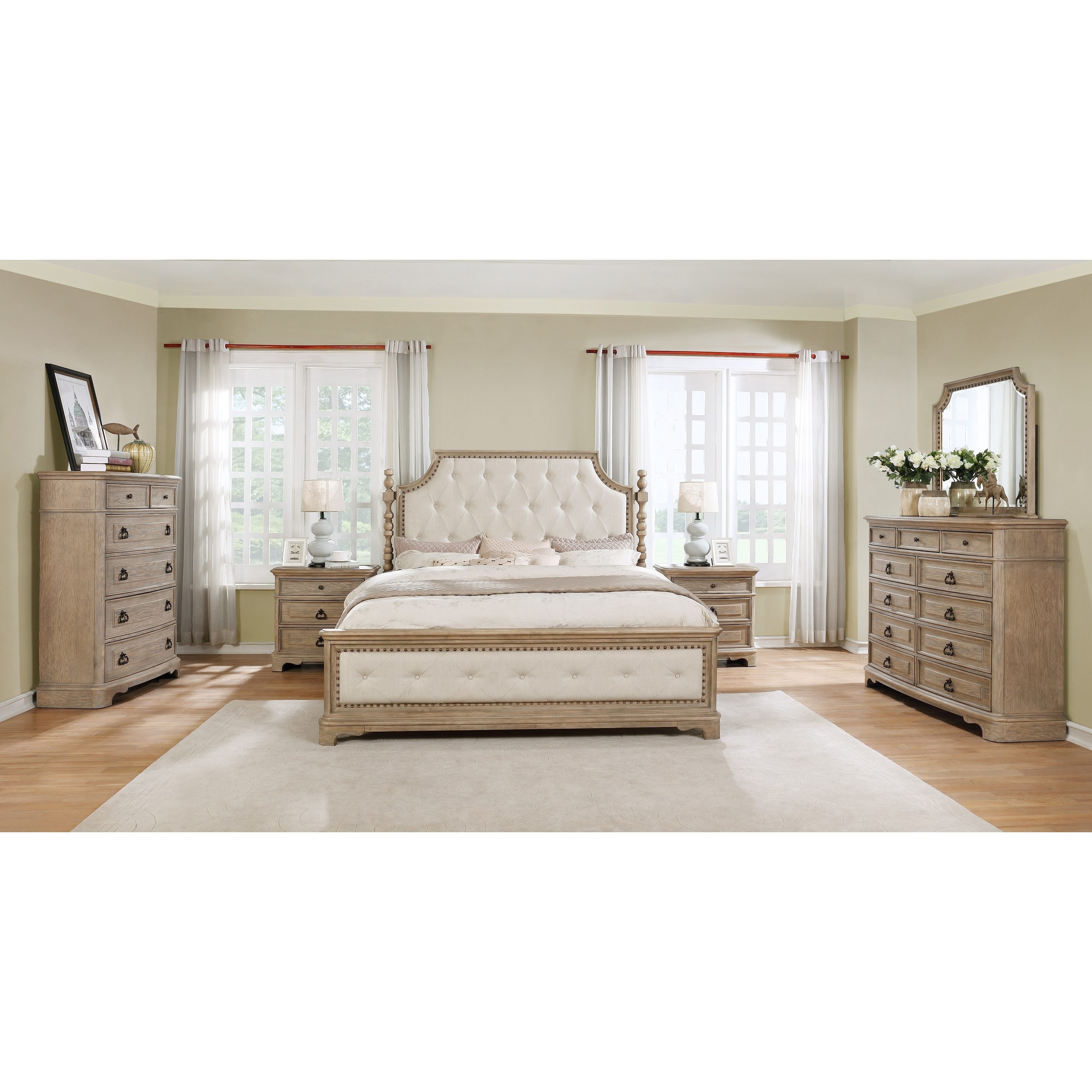 Delicieux Piraeus 296 Solid Wood Construction Bedroom Set With King Size Bed,  Dresser, Mirror,