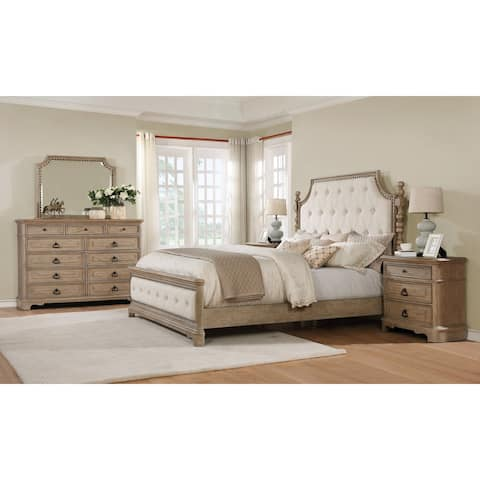 Piraeus 296 Solid Wood Construction Bedroom Set with King Size Bed, Dresser, Mirror and 2 Night Stands