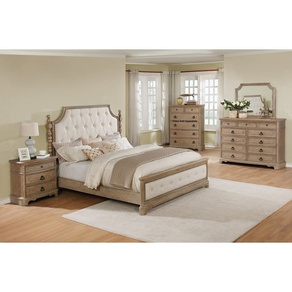 Piraeus 296 Solid Wood Construction Bedroom Set with Queen size Bed, Dresser, Mirror and Night Stand