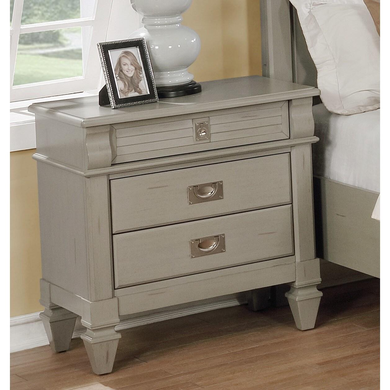 The Gray Barn Barish Antique Grey 3 Drawer Nightstand