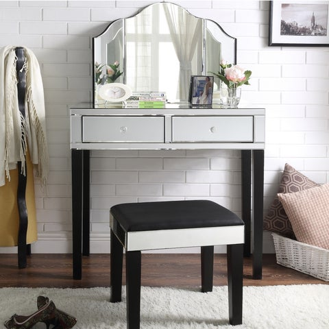 Portia Modern Contemporary 3-Piece Vanity Set with Trifold Mirror