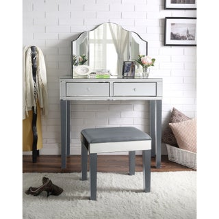 Portia Modern Contemporary 3-Piece Vanity Set with Trifold Mirror (Option: Grey)