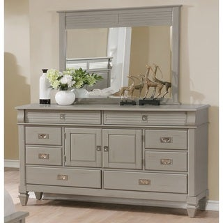 York Collection 204 Antique Grey 8-drawer and 2-door Dresser and Mirror