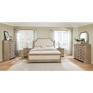 Piraeus 296 Solid Wood Construction Bedroom Set with Queen size Bed, Dresser, Mirror, Chest and 2 Night Stands
