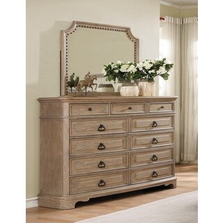 Piraeus 296 11 Drawers White Wash Dresser and NailHead Trim Mirror - oak
