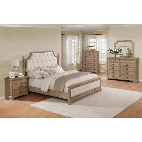 Piraeus 296 Solid Wood Construction Bedroom Set with King Size Bed, Dresser, Mirror, Chest and Night Stand