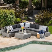 Puerta Outdoor 7-Seater Wicker V Shaped Sectional Sofa with Water Resistant Cushions by Christopher Knight Home
