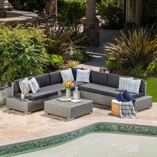 Puerta Outdoor 7 Seater Wicker V Shaped Sectional Sofa With Water Resistant  Cushions By Christopher