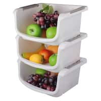 Ybm Home Plastic Stackable Storage Basket Organizer Tray Open Bin -Set of 3