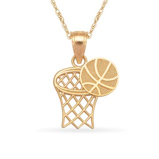 14k Yellow Gold 16-Inch Basketball and Hoop Sports Pendant Necklace