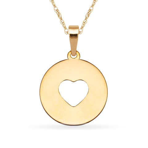 Round gold medallion pendant necklaces find great jewelry deals 14k yellow gold 16 inch cut out heart round medallion pendant necklace aloadofball Images