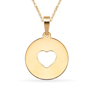 14k Yellow Gold 16-inch Cutout Heart Round Medallion Pendant Necklace