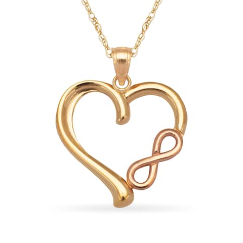 14k Gold 16-inch Polished Infinity Heart Pendant Necklace