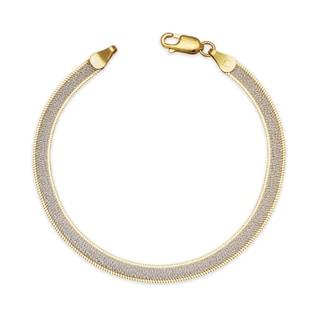 "Sterling Silver Italian Women's Sparkle Two-tone Reversible Herringbone Chain Bracelet (Choice of 7"" or 8"") - White"
