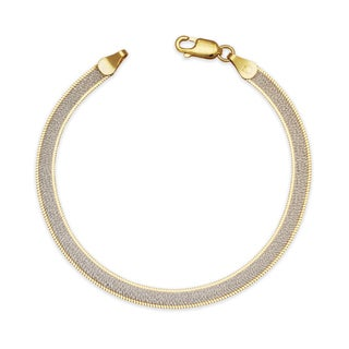 "Sterling Silver Italian Women's Sparkle Two-tone Reversible Herringbone Chain Bracelet (Choice of 7"" or 8"") - White"