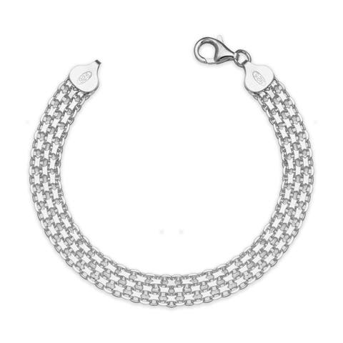 "Sterling Silver Italian Women's 8mm Bismark Chain Bracelet (Choice of 7"" or 9"") - White"