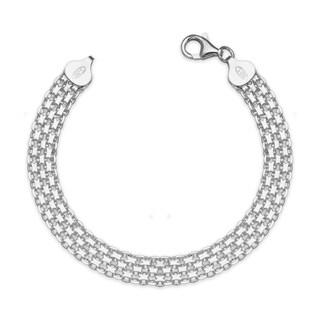 "Sterling Silver Italian Women's 8mm Bismark Chain Bracelet (Choice of 7"" or 9"") - White"