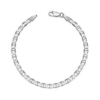 "Sterling Silver Italian Women's 3mm Mariner Chain Bracelet (Choice of 7"" or 8"") - White"