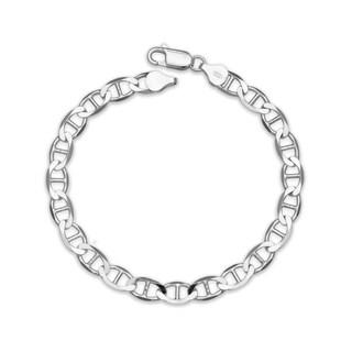 """Sterling Silver Italian Men's 6mm Mariner Chain Bracelet (Choice of 8"""" or 9"""") - White"""