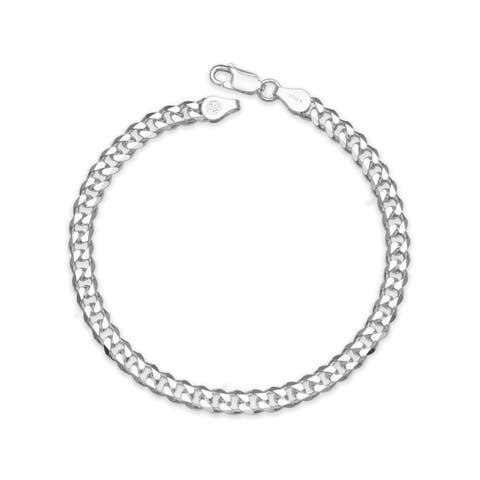 "Sterling Silver Italian Men's 6mm Curb Chain Bracelet (Choice of 8"" or 9"") - White"