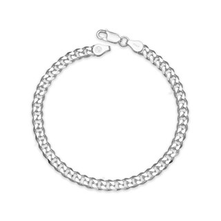 """Sterling Silver Italian Men's 6mm Curb Chain Bracelet (Choice of 8"""" or 9"""") - White"""