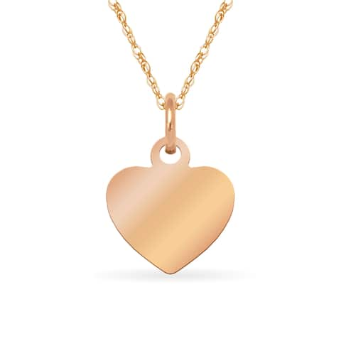 """14k Rose Gold Childrens Small Heart Disc Charm Necklace (16"""") - Pink"""