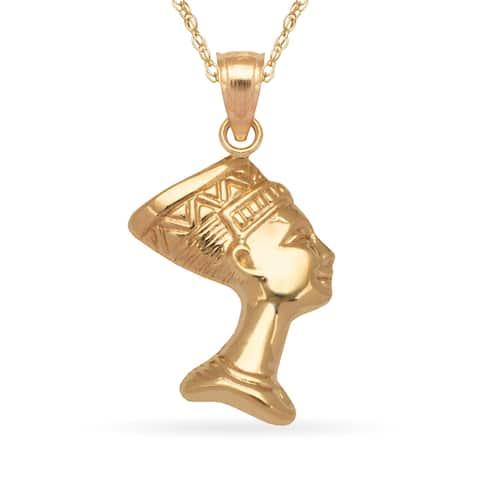 14k Yellow Gold 16-Inch Reversible Nefettiti Pendant Necklace