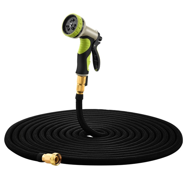 Garden Hose Set, 100ft Expandable Garden Hose with 9 Adjustable Spray Patterns Spray Gun, Slip Resistant