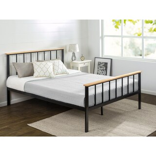 Priage Contemporary Metal and Wood Platform Bed