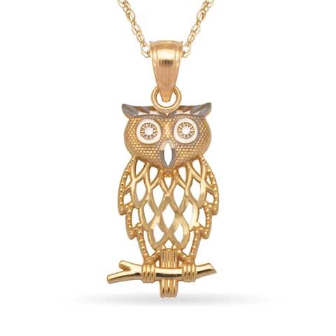 14k Yellow Gold 16-Inch Diamond-cut Filigree Owl Pendant Necklace