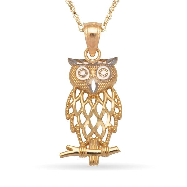 41139be07 14k Yellow Gold 16-Inch Diamond-cut Filigree Owl Pendant Necklace