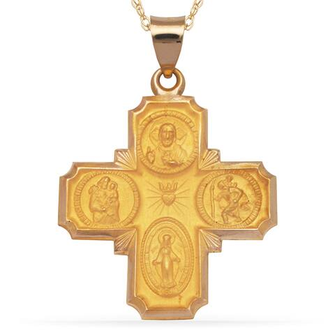 14k Yellow Gold 16-Inch Four-Way Medal Cross Pendant Necklace
