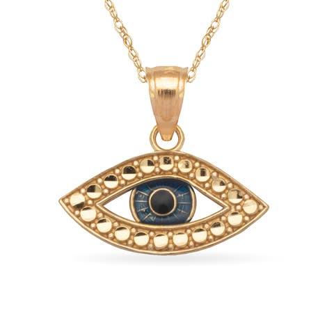 14k Yellow Gold 16-Inch Diamond-cut Enamel Evil Eye Pendant Necklace