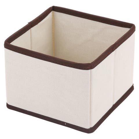 Ybm Home Fabric Closet/Dresser Drawer Storage Foldable,Organizer, Cube Basket Bin Natural/Brown Trim 2204 Small